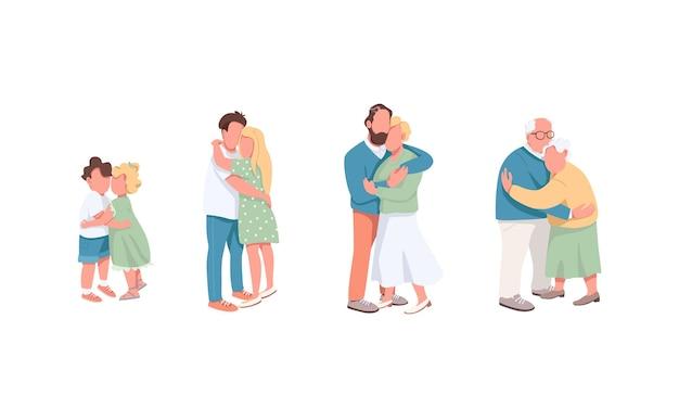 Набор плоских цветных безликих персонажей разного поколения. мальчик обнимает девушку. парень вместе с девушкой. любовные отношения изолированные иллюстрации шаржа на белом фоне