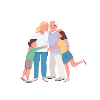 다른 세대의 평면 색상 얼굴없는 문자. 할아버지는 딸과 손자를 안아줍니다. 행복 한 가족 격리 만화 일러스트 레이 션