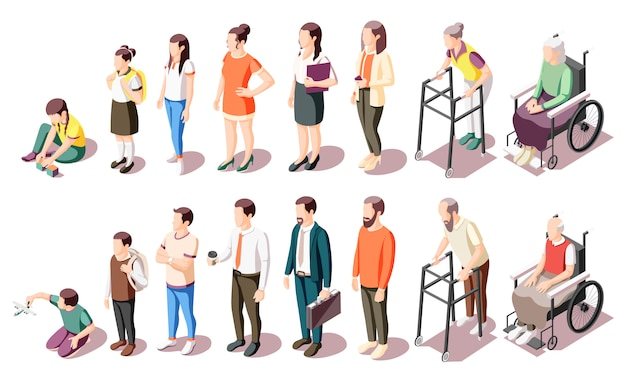 Different generations isometric icons set illustrated human age evolution from kid to old isolated illustration