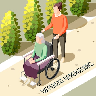 Изометрические разные поколения с пожилой женщиной-инвалидом, сидящей в инвалидной коляске, и молодой медсестрой