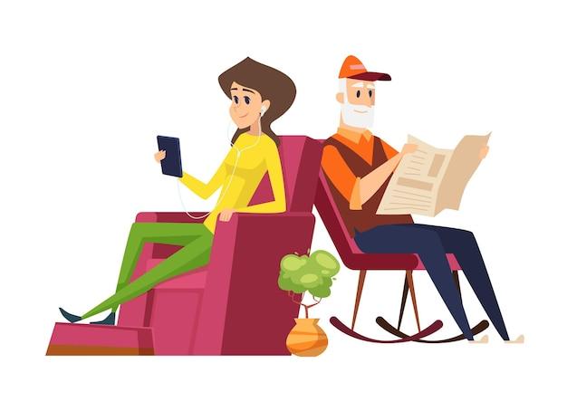 Разные поколения. старик против молодой женщины, отца и дочери. девушка читает со смартфоном, папа читает газету