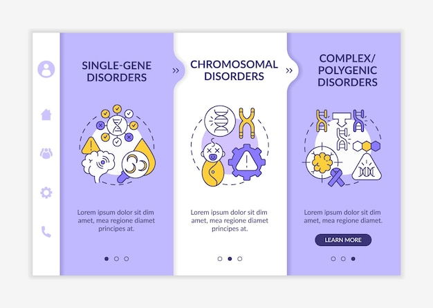 Different genetic disorders onboarding vector template. responsive mobile website with icons. web page walkthrough 3 step screens. hereditary illness color concept with linear illustrations