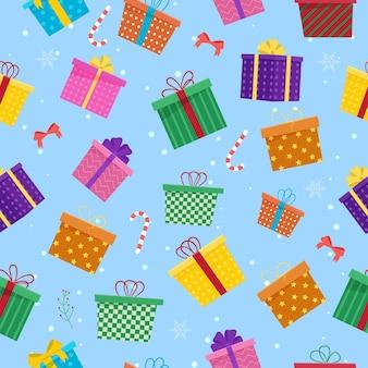 다른 선물 상자 완벽 한 패턴입니다. 새해 선물.