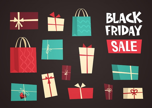 Different gift boxes with black friday sale text