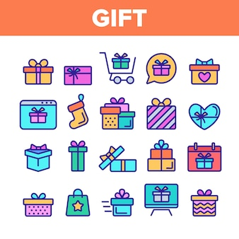 Different gift sign icons set