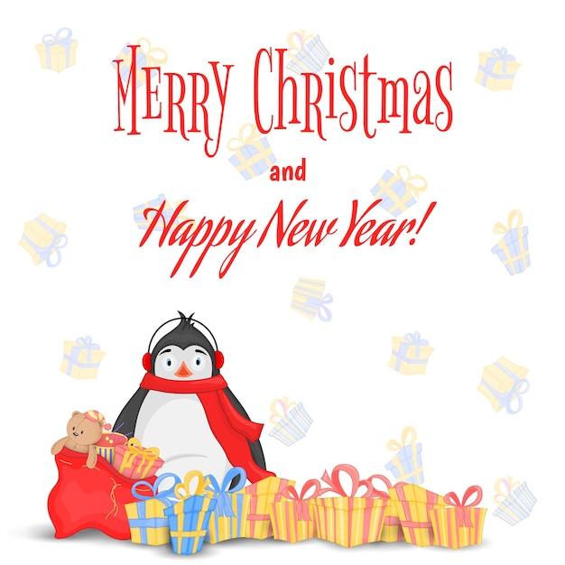 테디 베어와 장난감이 든 리본과 가방이 있는 다양한 선물. 북극 펭귄. 새 해와 크리스마스에 대 한 엽서입니다. 흰색 배경에 고립 된 개체입니다. 텍스트, 사진 및 축하를 위한 템플릿입니다.