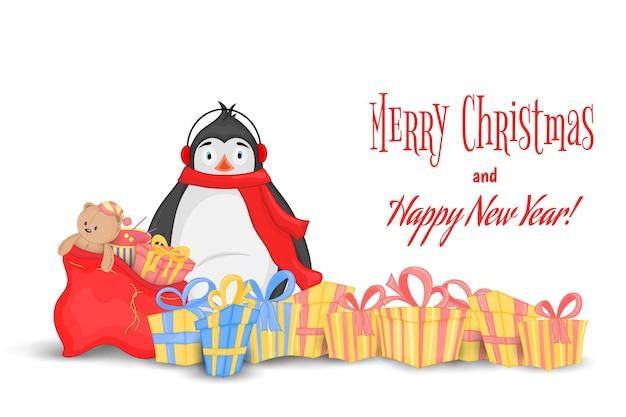 테디 베어와 장난감이 든 리본과 가방이 있는 다양한 선물. 북극 펭귄. 새 해와 크리스마스에 대 한 엽서입니다. 흰색 배경에 고립 된 개체입니다. 텍스트, 사진 및 축하를 위한 템플릿입니다. 프리미엄 벡터