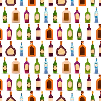 Different glossy bottles with alcohol in a row on white, seamless pattern