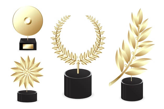 Different golden awards, isolated on white