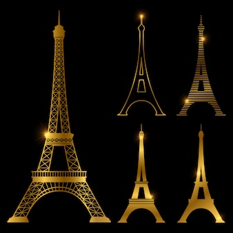 Different golden eiffel tower vector landmark set. paris