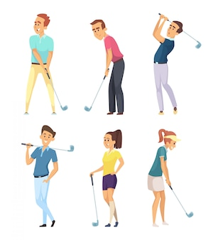 Different golf players isolated