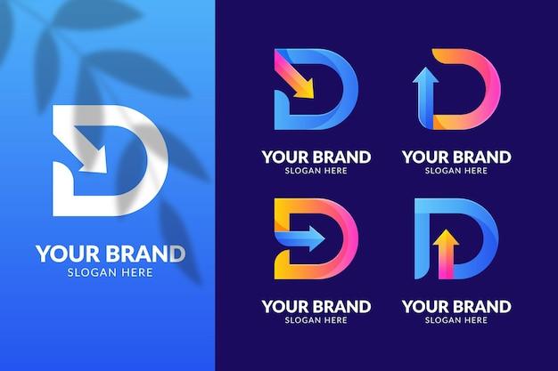 Different gradient d logos set