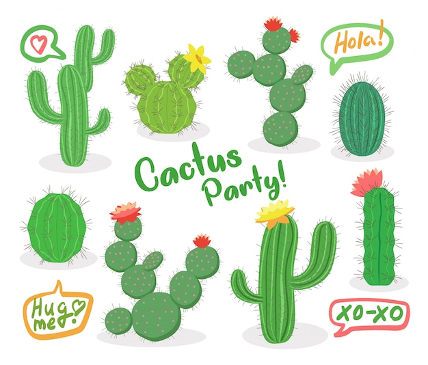 Different green succulent plants with flowers icon set isolated