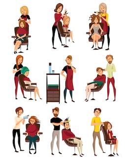 Different hairdressers serving clients set, man and woman in barbershop, hairdressing salon cartoon   illustrations