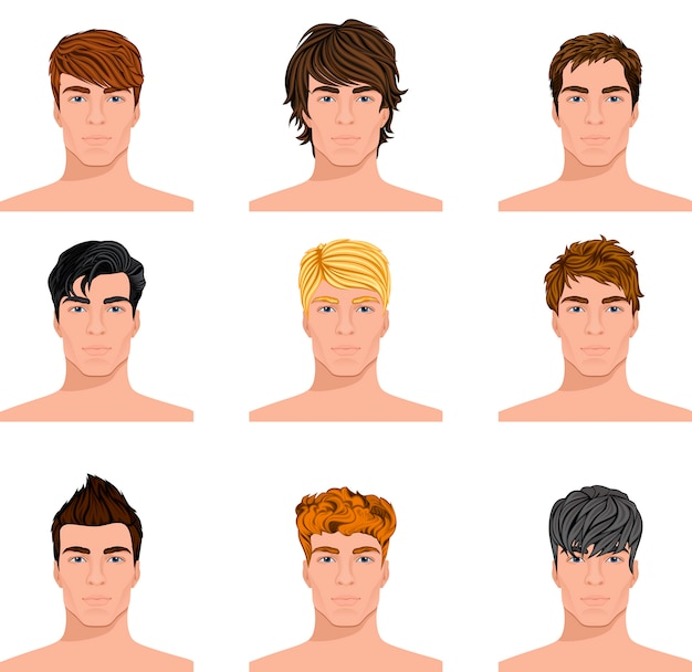 Different hairstyle men faces avatar set