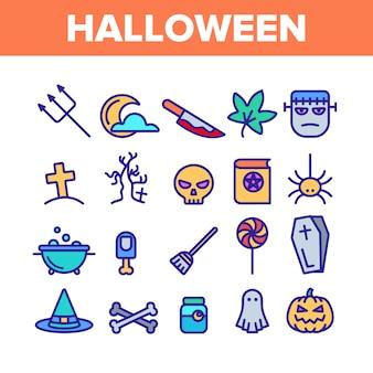 Different halloween icons set