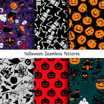 Different halloween vector pattern set