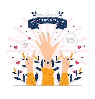 Different hand sign on international human rights day concept illustration