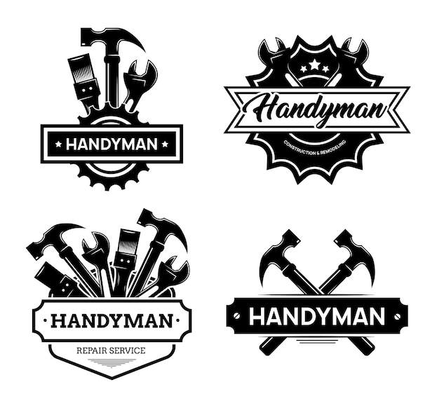 Different handyman logo flat icon set. black vintage service badges with wrench and hammer for mechanic worker vector illustration collection. construction and maintenance