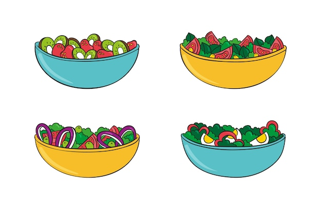 Different healthy fruits and salads bowls