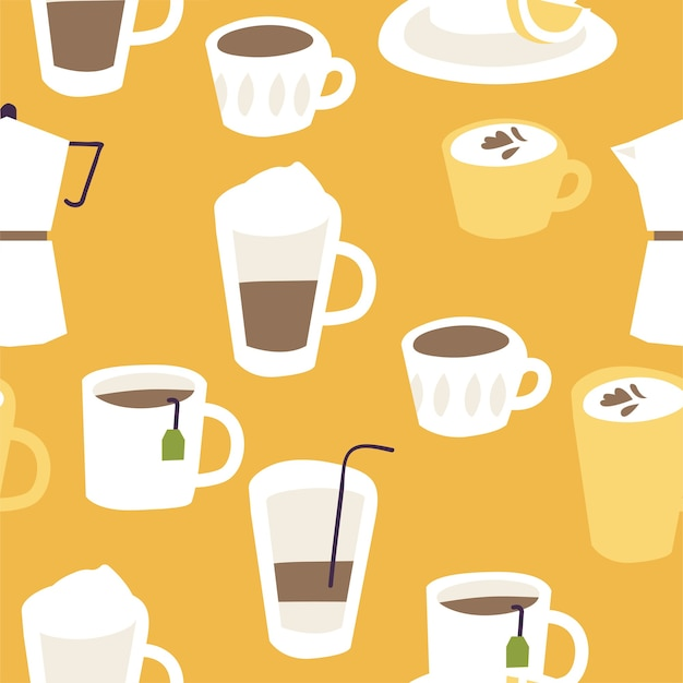 Different hot drinks seamless pattern.