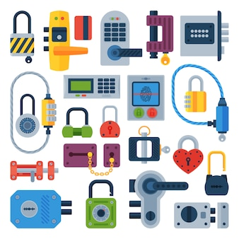 Different house door lock icons set isolated