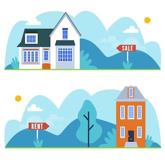 판매 또는 임대 수금을위한 다른 주택