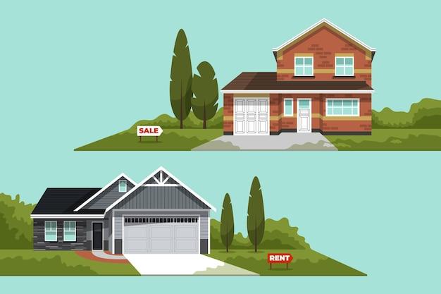 販売または賃貸セットの異なる家