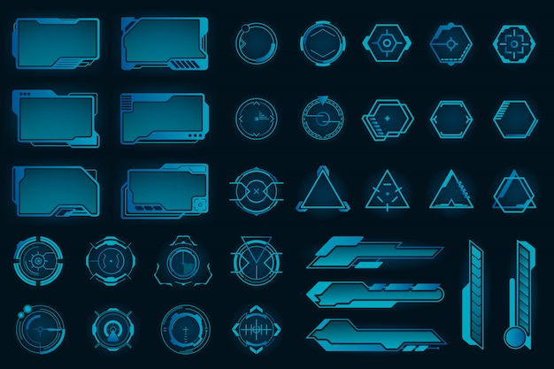 Different hud elements flat frames set