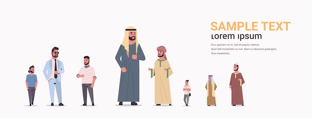 Different ic men group standing together arab businessmen wearing traditional clothes male arabian cartoon characters full length flat white background horizontal copy space