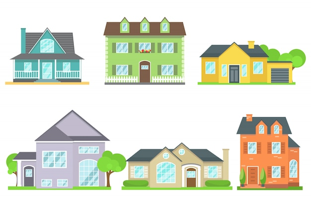 Different icons of cottages, view from the front.
