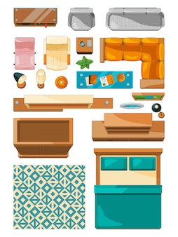 Different icons of furniture top view