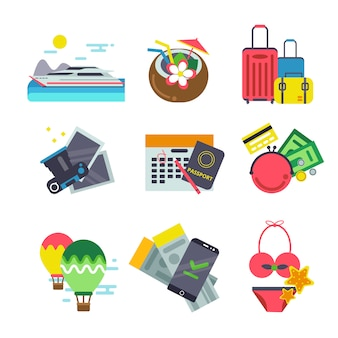 Different icons of traveling. summer holiday vector illustrations in flat style