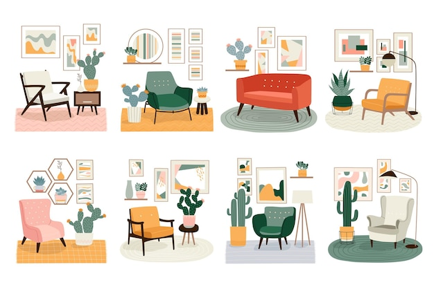 Different illustrations with cute minimalistic interiors with mid century modern furniture and plants. trendy scandinavian hygge interior.