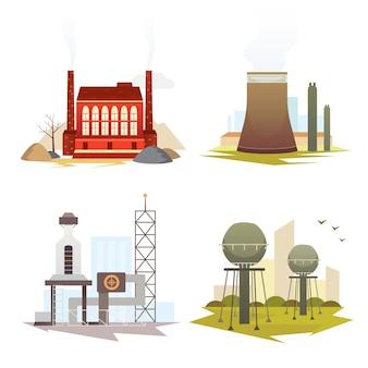 別の産業工場の建物や植物。工業都市建設セットイラスト。