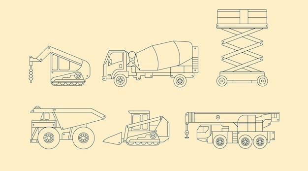 개요 디자인의 다른 산업용 차량