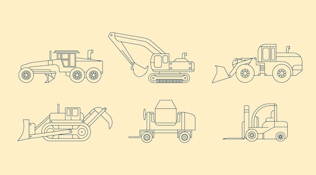 Different industrial vehicles in outline design