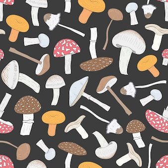 Different inedible mushrooms seamless pattern. hand drawn fungi.