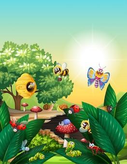 昼間に庭のシーンに住んでいるさまざまな昆虫