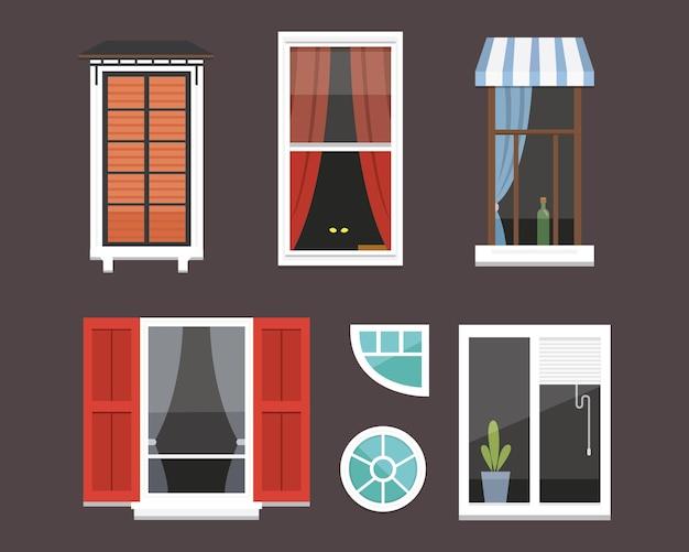 さまざまな形のイラストのさまざまな内部の窓
