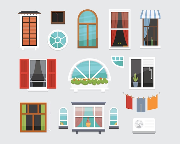 Different interior windows of various forms  illustration. architecture design outdoor or exterior view, building and home theme