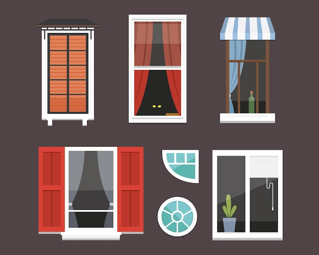 Different interior windows of various forms illustration