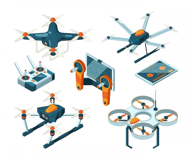 Different isometric drones and quadcopters