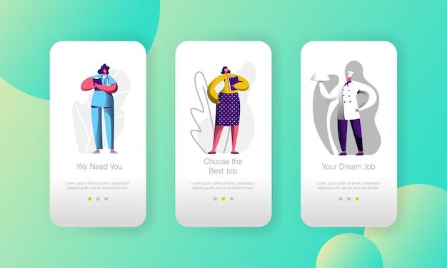 Различные вакансии выберите возможный персонаж. страница мобильного приложения. набор экранов.