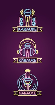Different karaokes in neon style with  microphone over purple