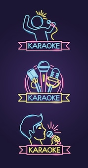 Different karaokes in neon style with singer and microphone over purple