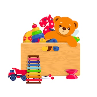 Different kids toys in a wooden box on white background.  illustration