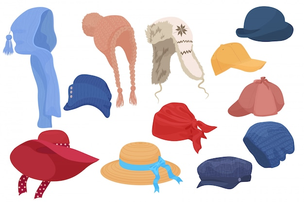 Different kind of cartoon hats set collection.