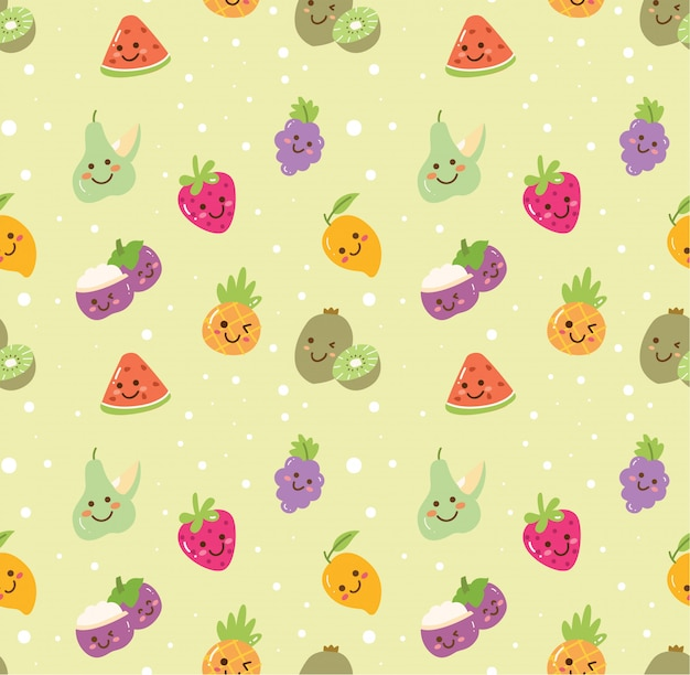 Different kind of fruit seamless background