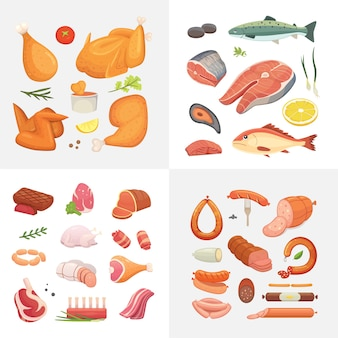 Different kind of meat food icons set . raw ham, set grill chiken, piece of pork, meatloaf, whole leg, beef and sausages. salmon fish and seafood.